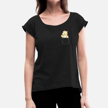 Pocket Cat Pocket Cat Pocket Pocket Gift - Women's T-Shirt with rolled up sleeves