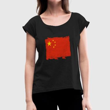 China flag - Women's T-Shirt with rolled up sleeves