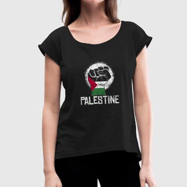Palestine fist - Women's T-Shirt with rolled up sleeves