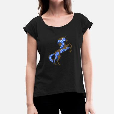 Unicorn Symbol Male Symbol Unicorn T-Shirt Magical Unicorn - Women's T-Shirt with rolled up sleeves
