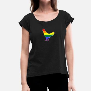 Cock Gay LGBT Cock Gay Pride Gay Gay Rainbow - Women's T-Shirt with rolled up sleeves