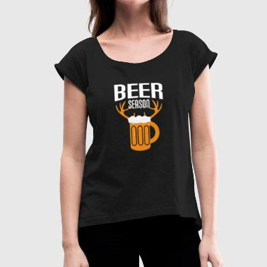 Beer Hunting Christmas gift beer hunting elk hunting hunter - Women's T-Shirt with rolled up sleeves