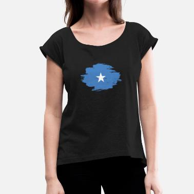 Somalia Flag home flag love origin Somalia png - Women's T-Shirt with rolled up sleeves