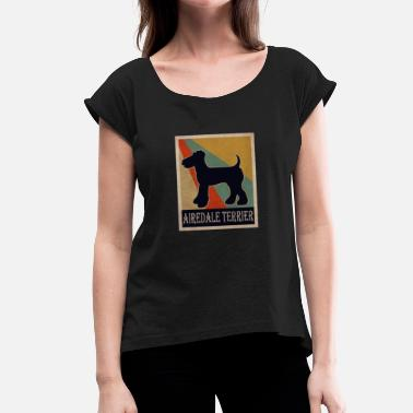 Airedale Terrier Airedale Terrier - Camiseta con manga enrollada mujer