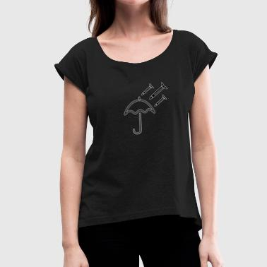 Democracy Rain - Women's T-Shirt with rolled up sleeves