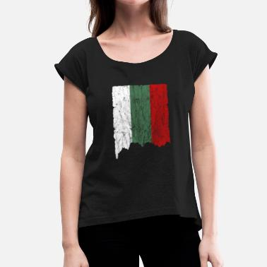 Burgas Bulgaria flag vintage gift idea - Women's T-Shirt with rolled up sleeves