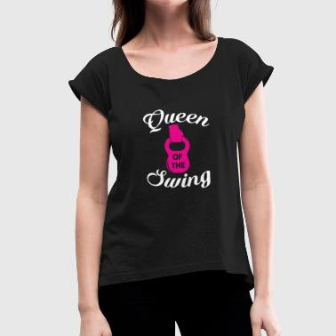 Queen Of The Swing Kettlebell Gym Fitness - Camiseta con manga enrollada mujer