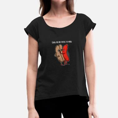 Sex Hot Dog funny Bread and hot dog gift - Women's T-Shirt with rolled up sleeves