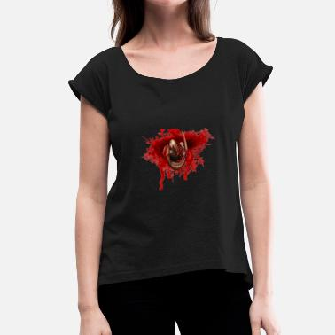 Alien Blood Splatter - Women's T-Shirt with rolled up sleeves
