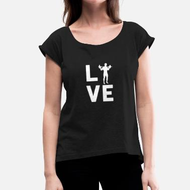 Hodetelefoner TRAINING LOVE - Graphic Shirt - Women's T-Shirt with rolled up sleeves