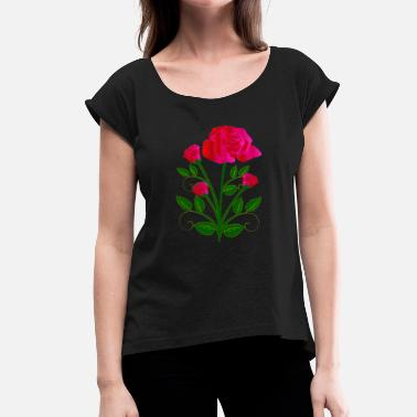 Pink Roses Pink Roses - Women's T-Shirt with rolled up sleeves