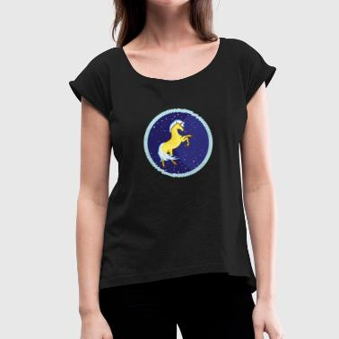Majestic Beast Golden unicorn in the starry sky - Women's T-Shirt with rolled up sleeves