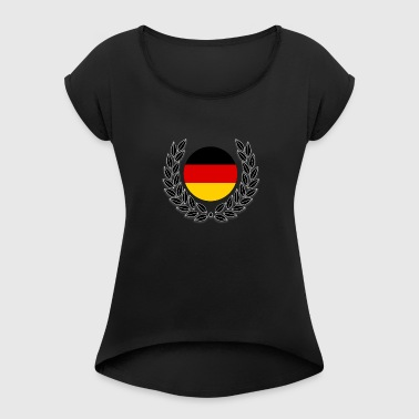 German flag on laurel wreath - Women's T-Shirt with rolled up sleeves