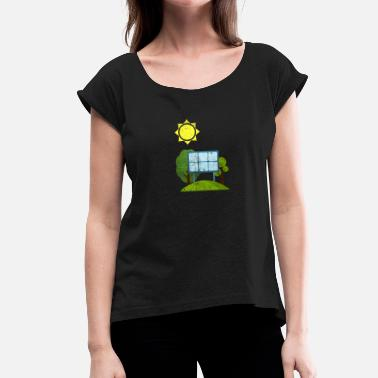 Solar Solar Power Solar Energy Electric Gift Idea - T-shirt med upprullade ärmar dam