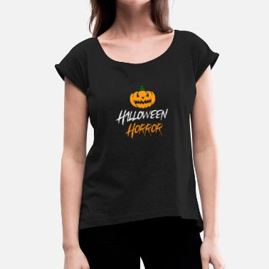 Horror Film Halloween horror pumpkin white - Women's T-Shirt with rolled up sleeves