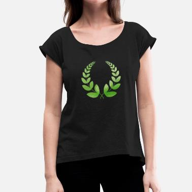 garland leaves leafs wreath leaf green nature - Women's T-Shirt with rolled up sleeves