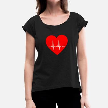 Ecg Heartbeat Heartbeat ECG - Women's T-Shirt with rolled up sleeves