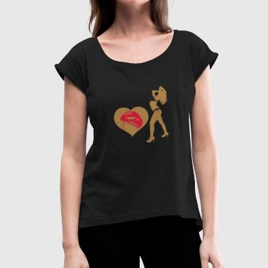 Hodetelefoner Crazy love design idea gift - Women's T-Shirt with rolled up sleeves