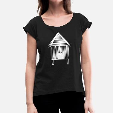 Sheds House hut shed lake - Women's T-Shirt with rolled up sleeves