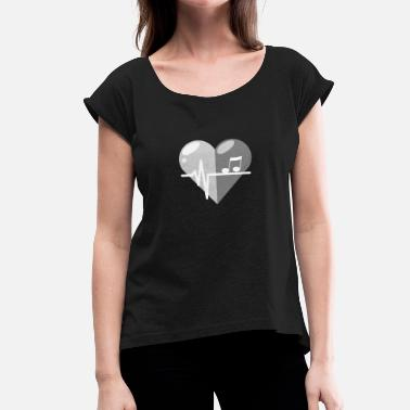 Music Heartbeat Music heartbeat - Women's T-Shirt with rolled up sleeves