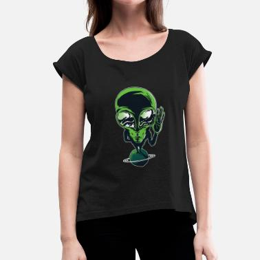 Cool Planet COOL ALIEN ON PLANET - Women's T-Shirt with rolled up sleeves