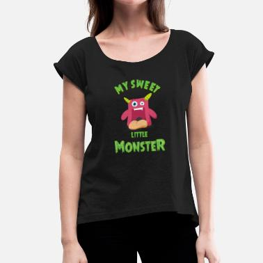 Cute Monster Sweet Little Monster - Ein entzückendes Monster - Frauen T-Shirt mit gerollten Ärmeln