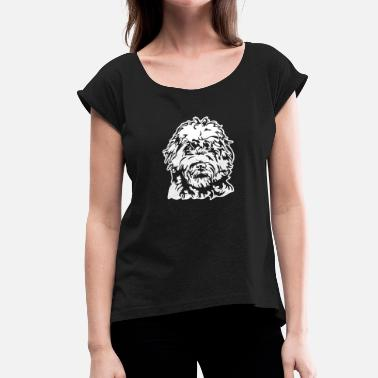 Labradoodle LABRADOODLE PORTRAIT - Women's T-Shirt with rolled up sleeves