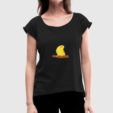 Yellow Budgie - Women's T-Shirt with rolled up sleeves