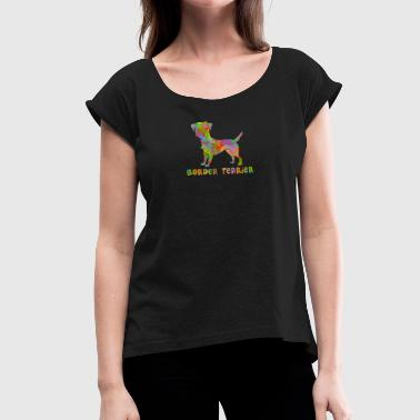 Border Terrier Border Terrier Multicolored - Women's T-Shirt with rolled up sleeves