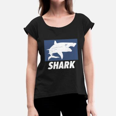Shark Attack Shark white shark whale shark gift - Women's T-Shirt with rolled up sleeves