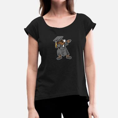 Black Girl Nerd Black girl student dab dabbing graduation school - Women's T-Shirt with rolled up sleeves