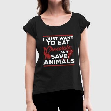 Animal Protection Animal protection chocolate dog animal - Women's T-Shirt with rolled up sleeves