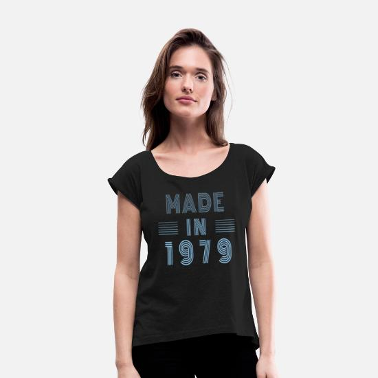 Birthday T-Shirts - Made in 1979 Birthday Retro Classic - Women's Rolled Sleeve T-Shirt black