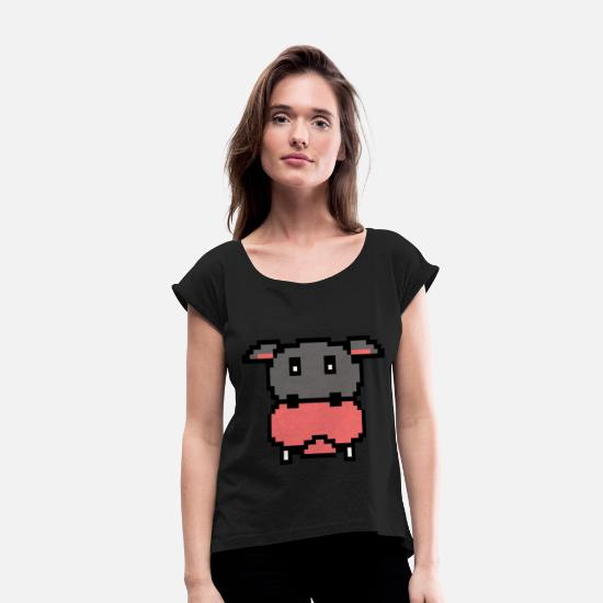 8 Bit T-Shirts - Pixel Video Game Hippo Gaming 16bit graphics - Women's Rolled Sleeve T-Shirt black