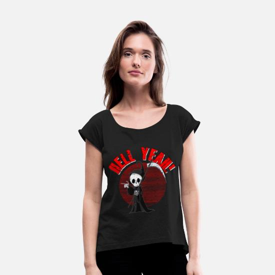 Gift Idea T-Shirts - Devil Grim Reaper Hell Death Demon Gift - Women's Rolled Sleeve T-Shirt black