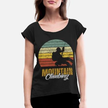 Alps Mountain climbing retro mountaineering gift - Women's Rolled Sleeve T-Shirt