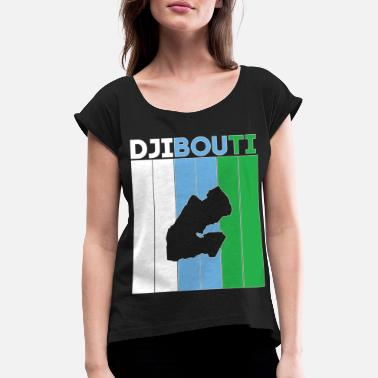 National Borders Djibouti national border and flag - Women's Rolled Sleeve T-Shirt