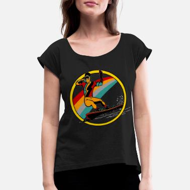 Winter Vacation Snowboarder winter vacation - Women's Rolled Sleeve T-Shirt