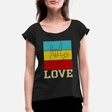 Hippie Movement Love hippie movement - Women's T-Shirt with rolled up sleeves