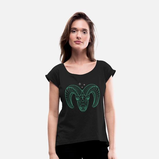 College T-Shirts - Cool Thin Line Ram Drawing - Women's Rolled Sleeve T-Shirt black