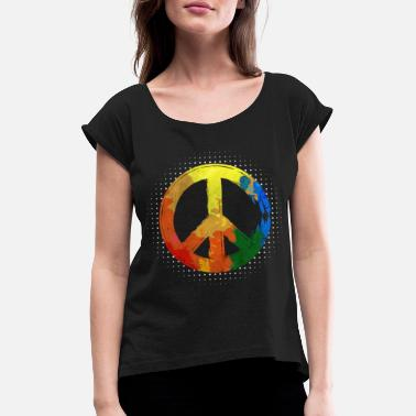 Movement Hippie Hippie Movement Peace Movement Peace - Naisten t-paita jossa rullatut hihat