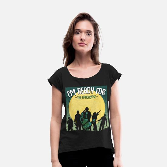 Zombie Apocalypse T-Shirts - Zombies - Women's Rolled Sleeve T-Shirt black