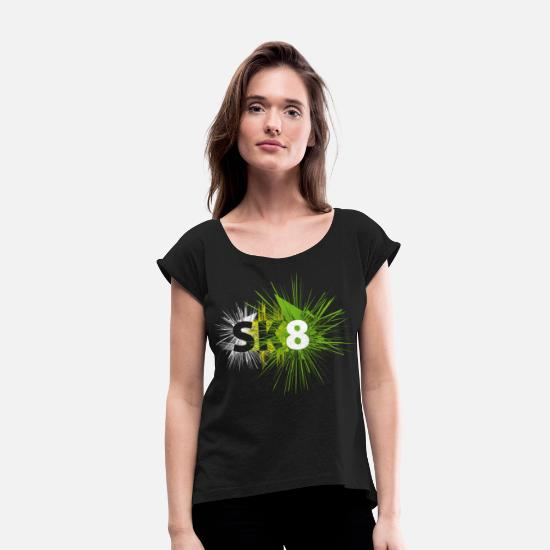 Love T-Shirts - sk8 skate skateboard skateboard - Women's Rolled Sleeve T-Shirt black