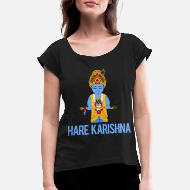 God Hare karishna cute blue hindu god bamboo flute - Women's Rolled Sleeve T-Shirt
