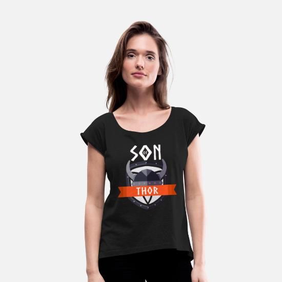 Thor T-Shirts - Son of THOR - Thor's son - Women's Rolled Sleeve T-Shirt black