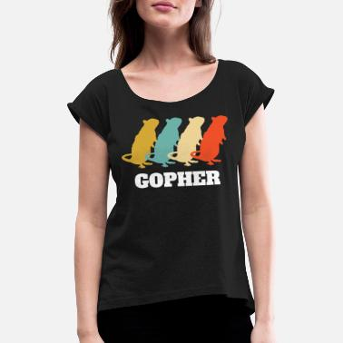 Central America Retro vintage gopher - Women's Rolled Sleeve T-Shirt