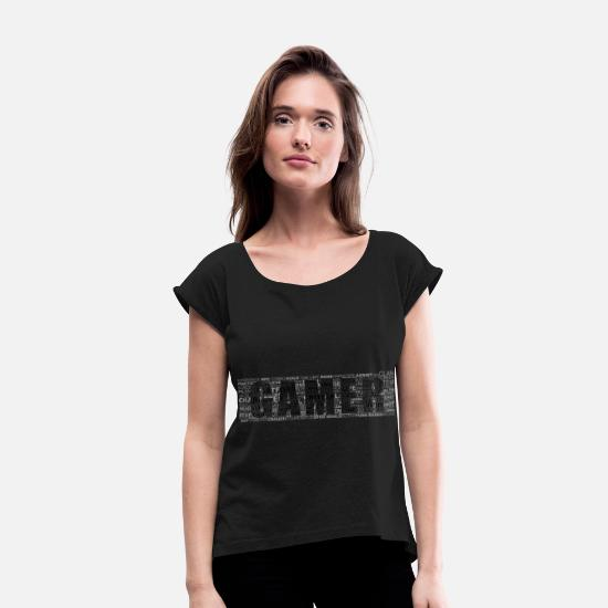 Controller T-Shirts - Gamer Typography Black - Women's Rolled Sleeve T-Shirt black