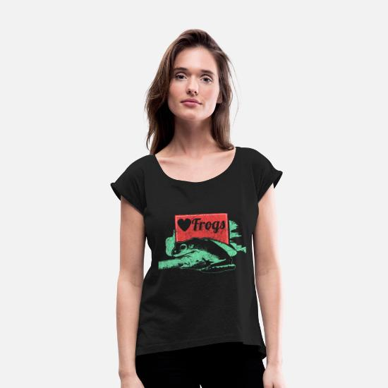 Pond T-Shirts - Frog amphibian gift idea - Women's Rolled Sleeve T-Shirt black