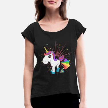 Comic Pupsendes Einhorn - Women's Rolled Sleeve T-Shirt