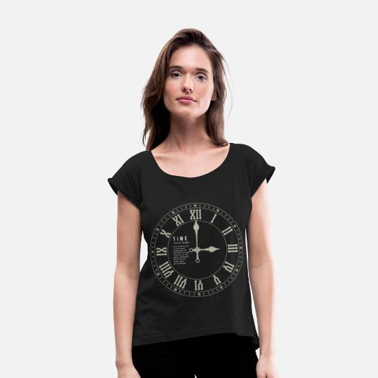 Birthday T-Shirts - Time - Women's Rolled Sleeve T-Shirt black